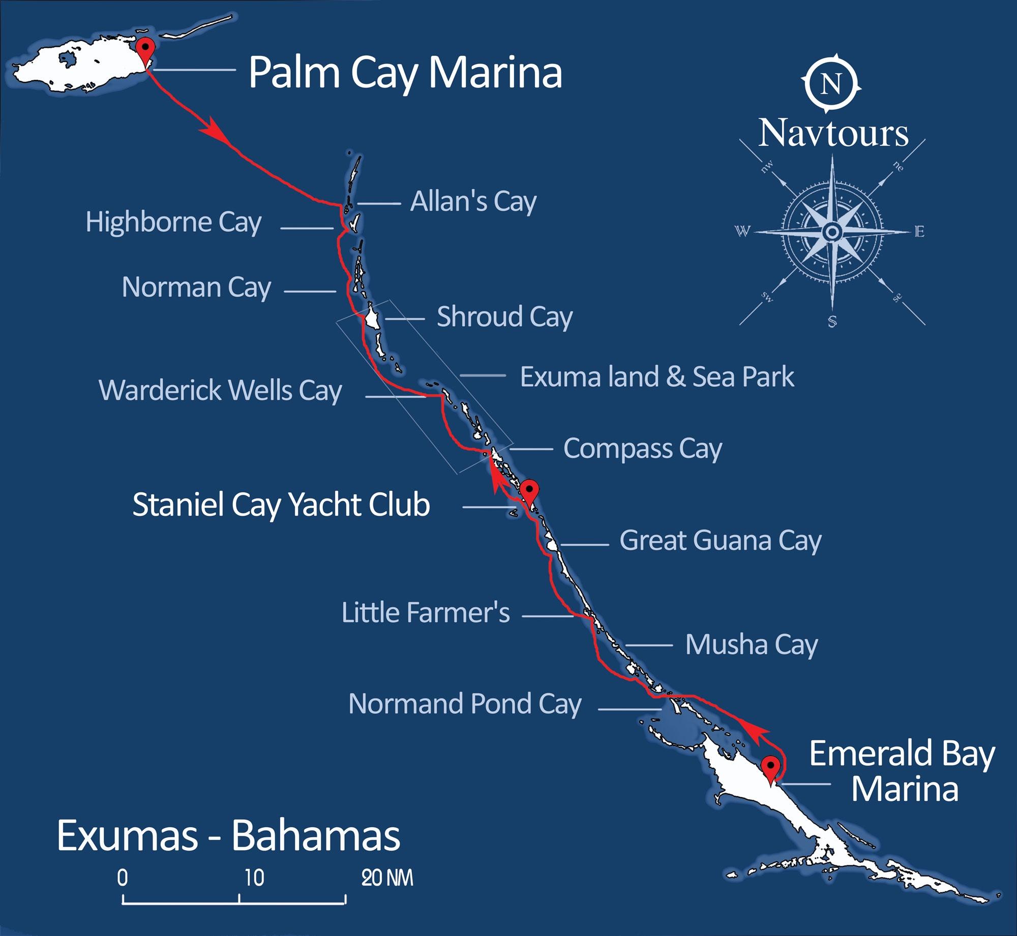 Exumas Map Bareboat Charter